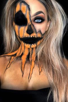 Halloween Pumpkin Makeup, Scary Halloween Pumpkins, Creepy Halloween Makeup, Fröhliches Halloween, Women Halloween, Creepy Makeup, Halloween Decorations, Halloween Recipe, Scarecrow Makeup