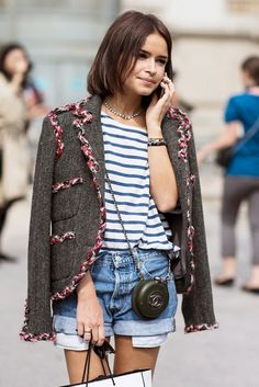 How to Style denim shorts: Cuffed Denim Shorts + Striped T-Shirt