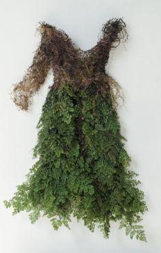 "Fern Dress by Catherine Latson Spanish moss, preserved adianthum fern, bamboo, silk, cotton, hemp 32"" x 18"" x 6"""