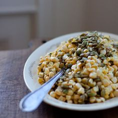 "Summer Corn Salad with pepitas, sunflower seeds and an intriguing ""lemonade vinaigrette"".  Must try."