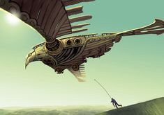 Based on a dream I saw some years ago. It was about this bird-like airship thing... no one knew who built it or when, but it had been gliding around ever since. I was probably influenced by Miyazak...