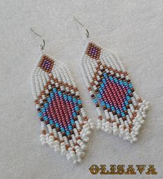 Long Indian style beads earrings - tribal style , boho style , Native American Beaded Earrings