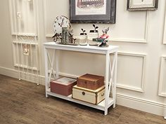 White Finish 3-Tier X-Design Occasional Console Sofa Table Bookshelf eHomeProducts http://www.amazon.com/dp/B01CPVOVNS/ref=cm_sw_r_pi_dp_qowdxb15TXCG5