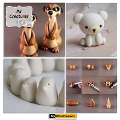 Air Dry Clay Creatures- Detailed instructions with step by step pictorials for these creatures can be found here.Click on image link to see more! {http://myopblog.com/2015/10/01/12-beautiful-projects-to-make-with-air-dry-clay/}