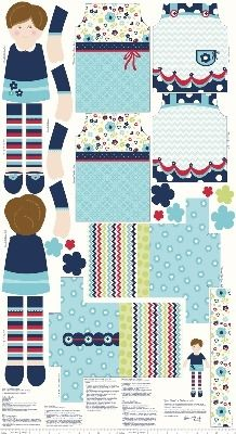 Riley Blake Fabric - Blue - Dress up days Doll - 100% Cotton