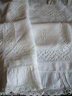 "Antique French Linen Pillow Sham Fil de Lin Monogram ""J"" Hand Embroidered Linen   eBay"