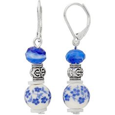 Dana Buchman Flower Bead Nickel Free Linear Earrings ($10) ❤ liked on Polyvore featuring jewelry, earrings, multicolor, blue jewelry, silver tone earrings, nickel free earrings, blue bead earrings and floral earrings