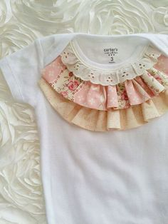 NEW Elegant shabby chic ruffled top baby girl bodysuit onsie. Great for birthday, wedding, photography
