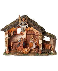 Roman Fontanini Lighted Stable 6 Piece Set Nativity Scene