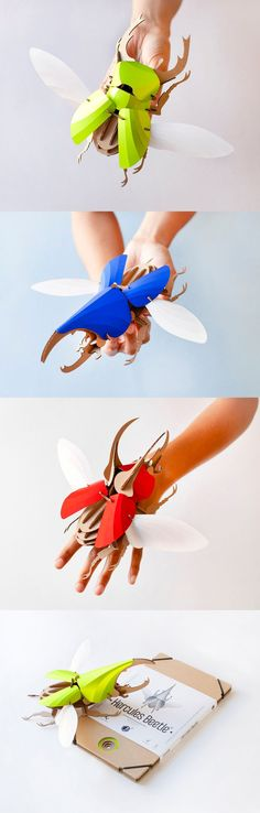 DIY Paper Beetle Sculpture Kits - totally gorgeous and awesome art sculpture DIY Paper Beetle Sculpture Kits by Assembli 3d Paper Crafts, Paper Toys, Diy Paper, Diy And Crafts, Arts And Crafts, Creation Deco, Insect Art, Up Book, Paper Artwork