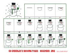 Ed Emberley& Snowman Drawing Page Drawing Tutorials For Kids, Drawing Projects, Drawing For Kids, Art For Kids, Christmas Art Projects, Christmas Gifts For Kids, Xmas, Christmas Doodles, Christmas Drawing