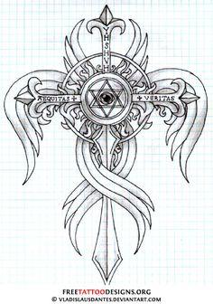 Cross tattoo drawing