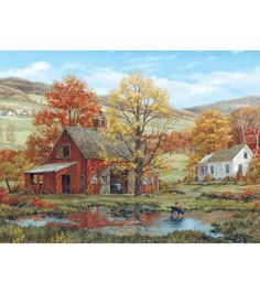 Find White Mountain Fred Swan Puzzle, Friends in Autumn in the Puzzles category at Tractor Supply Co.This White Mountain Jigsaw Puzz Arte Country, Country Style, Farm Art, Country Scenes, Autumn Art, Autumn Painting, Autumn Leaves, Swan Painting, Painting Art