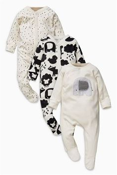 Buy Black/Ecru Character Sleepsuits Three Pack (0mths-2yrs) from the Next UK online shop