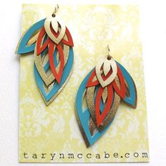 Leather Leafy Layers in orange and Turquoise by tomgirl on Etsy, $58.00