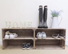 2 x Shabby Chic Handmade Wooden Apple Crate Shoe Rack, Rustic, Vintage, Style Shoe or Display… - shipping crates Wooden Crates Shoe Storage, Wooden Apple Crates, Wooden Shoe Racks, Wood Crates, Storage Boxes, Wood Pallets, Crate Storage, Wooden Boxes, Storage Ideas