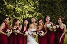 Bridesmaids in red. Get your own wedding photograhy - get in touch with Dublin-based professional wedding photographer Olga Hogan.