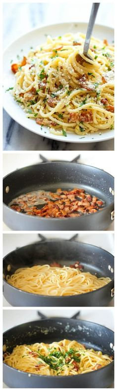 Just spaghetti + bacon + garlic + Parmesan + egg. Get the recipe.
