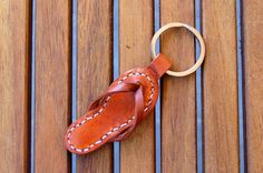 Handmade Sandal Leather Keychain Keyring Keyfob by RitsandRits, $16.00