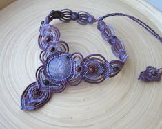 Lepidolite macrame necklace multicolor necklace от PieceOfGraceArt