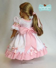 The My Angie Girl My Sweet Clara 18 inch Doll clothes pattern. The My Sweet Clara dress for 18 inch dolls features a gracefully scooped neckline, lined bodice, and perfectly puffed sleeves. American Girl Crafts, American Doll Clothes, Ag Doll Clothes, American Girls, Doll Dress Patterns, Clothing Patterns, Girl Dolls, Ag Dolls, Flower Girl Dresses