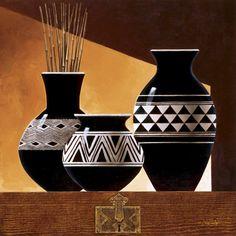 Tangletown Fine Art Patterns In Ebony II by Keith Mallett Giclee Print on Gallery Wrap Canvas, 35 Worli Painting, Bottle Painting, Bottle Art, Pottery Painting Designs, Pottery Designs, Paint Designs, Painted Flower Pots, Painted Pots, Flower Vases