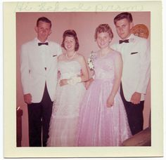 Picture is labeled 'High school prom 1957'