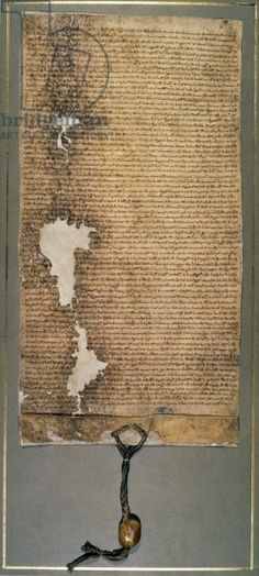 Magna Carta, the final version issued in 1225 by Henry III (vellum). Written or issued by my 27th Great Grandfather.