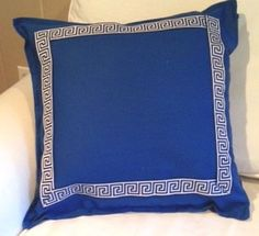 Blue Pillow Cover with Navy and White  Greek by ChesapeakeCottage