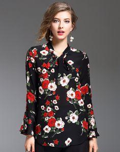 #AdoreWe #VIPme Blouses & Shirts - DAIPYA Black Silk Casual Printed Floral H-line Blouse - AdoreWe.com