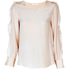 See by Chloe Flutter Blush Blouse ($283) ❤ liked on Polyvore featuring tops, blouses, blush, long sleeve silk blouse, long sleeve tops, frilly blouse, frill top y ruffle top