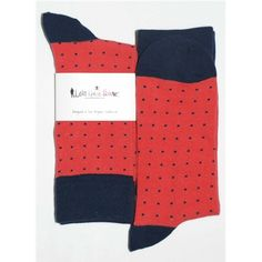 Mens Dress Sock - Lets Have Sox - Coral Blue Polka Dot