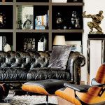 masculine-bachelor-pad-living-room-with-leather-sofa