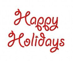 Happy Holidays Christmas script machine embroidery design 4