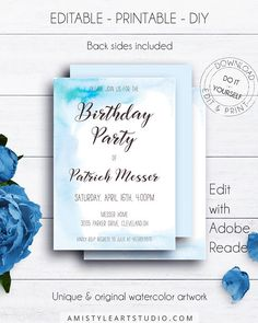 Watercolor Boy Birthday Party Invitation, with fresh and lovely hand-painted watercolor design in boho and trendy style.This charming birthday invitation template is an instant download EDITABLE PDF so you can download it right away, DIY edit and print it at home or at your local copy shop by Amistyle Art Studio on Etsy