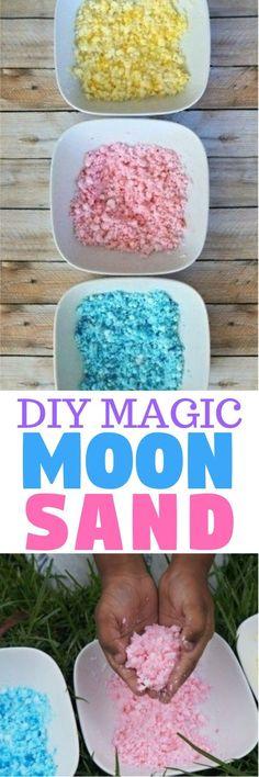 DIY magic moon sand recipe - learn how to make magic sand at home, such a fun sensory play activity for kids! magic sand recipe   homemade moon sand   make moon sand   kinetic sand recipes   honeyandlime.co