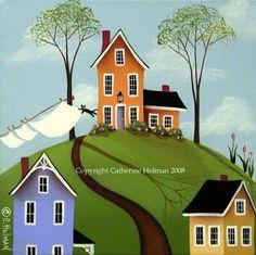 Folk Art Print Spring Breeze by catherineholman on Etsy, $16.95