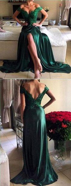 Off Shoulder Green Lace Evening Prom Dresses, 2017 Long Slit Prom Dres – SposaDesses