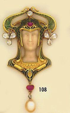 Art Nouveau Brooch, Carved ivory cameo, diamond, cabochon ruby, plique-à-jour enamel and gold brooch. Leon Gariod, Paris.