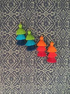 Tiered Tassel Earrings, Fringe Tassel Earrings, Stacked Tassel Earrings, Tassel Stack, Fringe Drops
