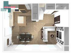 plan 3D espace jour | B_indoor | www.b-indoor.com/ #decoration #design #agencement #contemporain #art #mobilierdesign #amenagement #plans #meubles #canape #salon #sejour #lounge #livingroom #parquet #carrelage #faience #grescerame #table #chaise