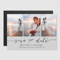 Hand Lettered Photo Collage Grey Save the Date Grey Save The Dates, Floral Wedding Save The Dates, Save The Date Photos, Save The Date Postcards, Save The Date Magnets, Save The Date Cards, Letter Photo Collage, Magnetic Business Cards, Wedding Invitation Cards