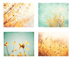 16x20 Photography Set - nature yellow mint green blue teal prints turquoise gold light pale pastel botanical branches flowers photo set via Etsy