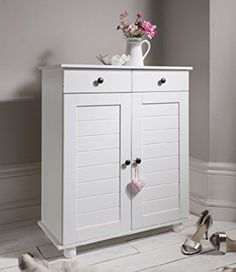 Hallway Heathfield Shoe Storage Unit in Silk Grey Shoe Cabinet - Furniture from Noa and Nani UK Your Shoe Storage Cabinet With Drawer, Shoe Storage White, Wooden Shoe Storage, Cabinet Drawers, Storage Drawers, Cabinet Doors, White Shoe Rack, Hallway Shoe Storage, Shoe Cubby