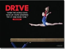 """Gymnast Inspiration & Motivation for Girl. x Laminated. Features the quote, """"When the world says 'give up,' hope whispers 'try it one more time. Gymnastics Images, Gymnastics Tricks, Gymnastics Posters, Gymnastics Workout, Artistic Gymnastics, Gymnastics Girls, Gymnastics Sayings, Gymnastics Stuff, Cheer Quotes"""