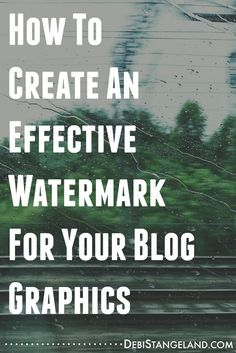 How To Create An Effective Watermark For Your Blog Graphics ★ Using a watermark for your blog graphics will expand the reach of your brand, protect your property, and help promote your site. You need to include one on every photo and graphic you create. Learn how with this simple tutorial. ★ Learn HOW To Blog ★