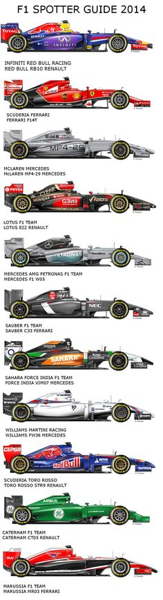F1 2014. ALL LIVERIES by G.PIROVANO. Just pinning this for future reminiscing.
