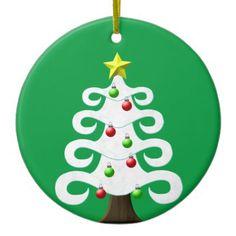 #Christmas Tree Snow Yule Winter Green Holiday Star Ceramic Ornament - #Xmas #ChristmasEve Christmas Eve #Christmas #merry #xmas #family #kids #gifts #holidays #Santa