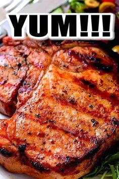Boneless Pork Chop Marinade, Grilled Pork Loin Chops, Pork Marinade Recipes, Boneless Pork Loin Chops, Grilled Chicken Recipes, Pork Chop Recipes, Grilling Recipes, Cooking Recipes, Pork Sirloin Chops