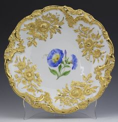 Meissen German Porcelain High Relief Gold Plate